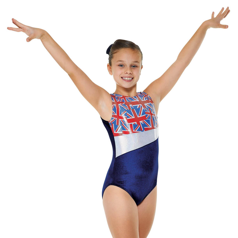 c631b6cbe Velvet and Foil Union Jack Sleeveless Gymnastic Leotard ...