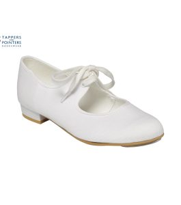White Canvas Low Heel Tap Shoe