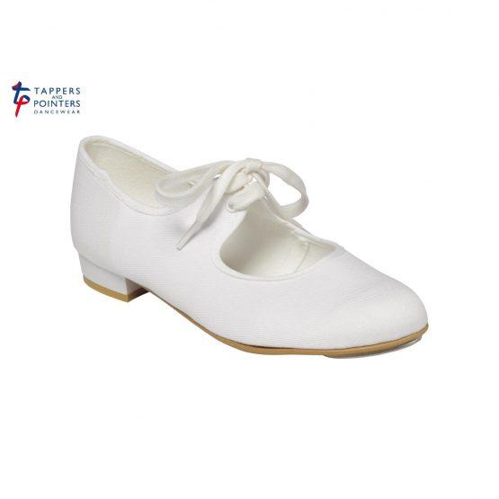 White Canvas Low Heel Tap Shoe