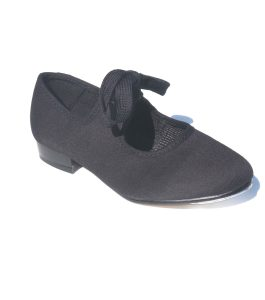 Black Canvas Low Heel Tap Shoes