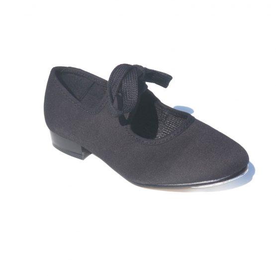 Black Canvas Low Heel Tap Shoes