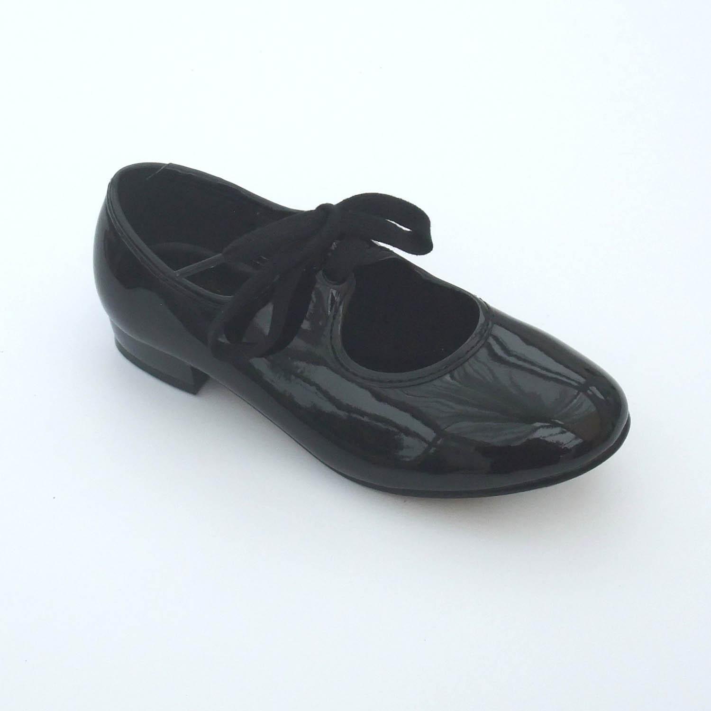 black patent pu low heel tap shoes dancewear universe