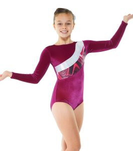 Gym 21 Cerise Velvet & Cerise Foil on Solaris print Gymnastic Leotard