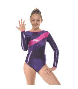 Gym-34 Sugar Plum Shine Grape and Astro Cerise Foil Long Sleeve Gymnastic Leotard