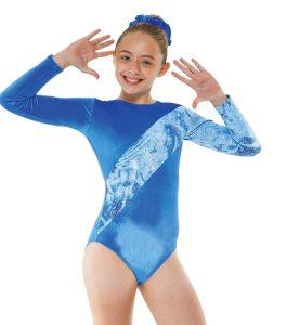 Gym 7 Royal & Silver Hologram Foil on Blue Strobe Gmnnastic Leotard