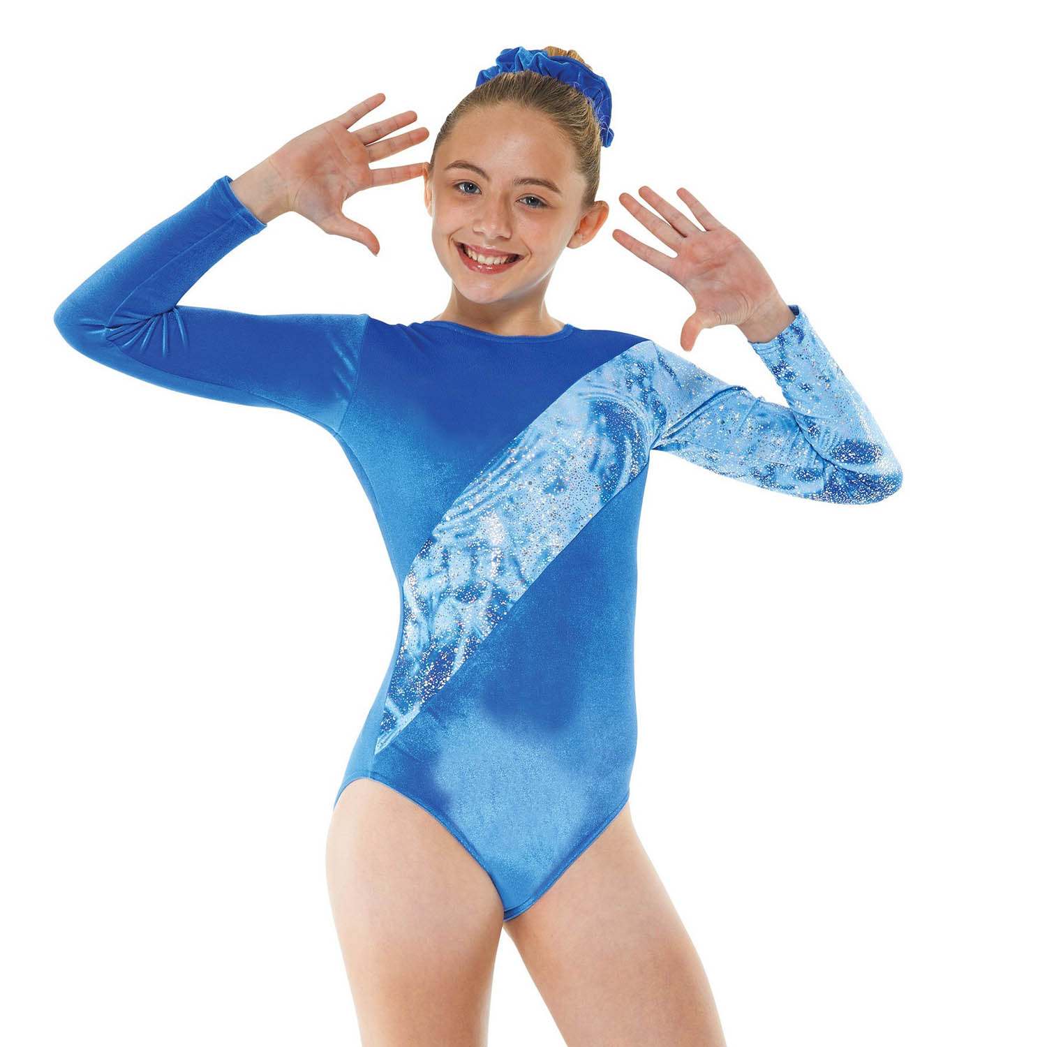 Gym 7 Royal & Silver Hologram Foil on Blue Strobe Gmnnastic Leotard