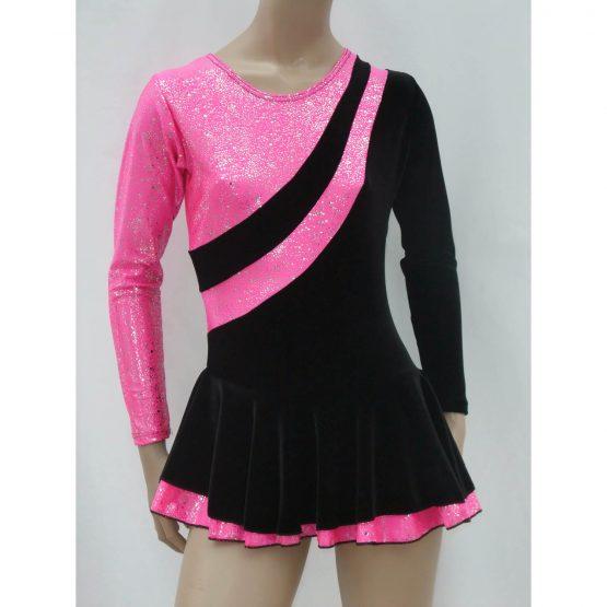 Jenetex Malaga Skating Dress Black & Pink front