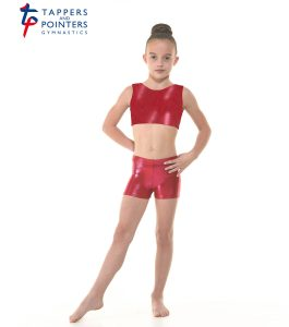 Pomegranite Shine Crop Top and Micro Shorts