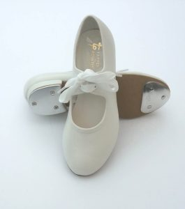 White PU Tap Shoes with Toe and Heel Taps