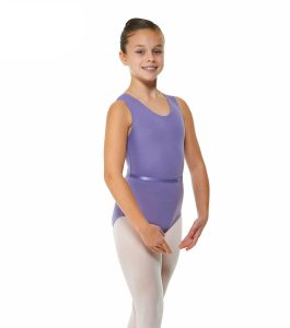 Ballet Sleeveless Leotard Plain Front with Belt Lavender