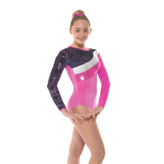 Gym 31 Electric Pink Navy Velvet and Cerise Foil Gymnastic Leotard