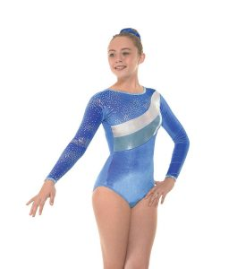 Gym 31 Royal Smooth Velvet and Astro Silver Foil Gymnastic Leotard