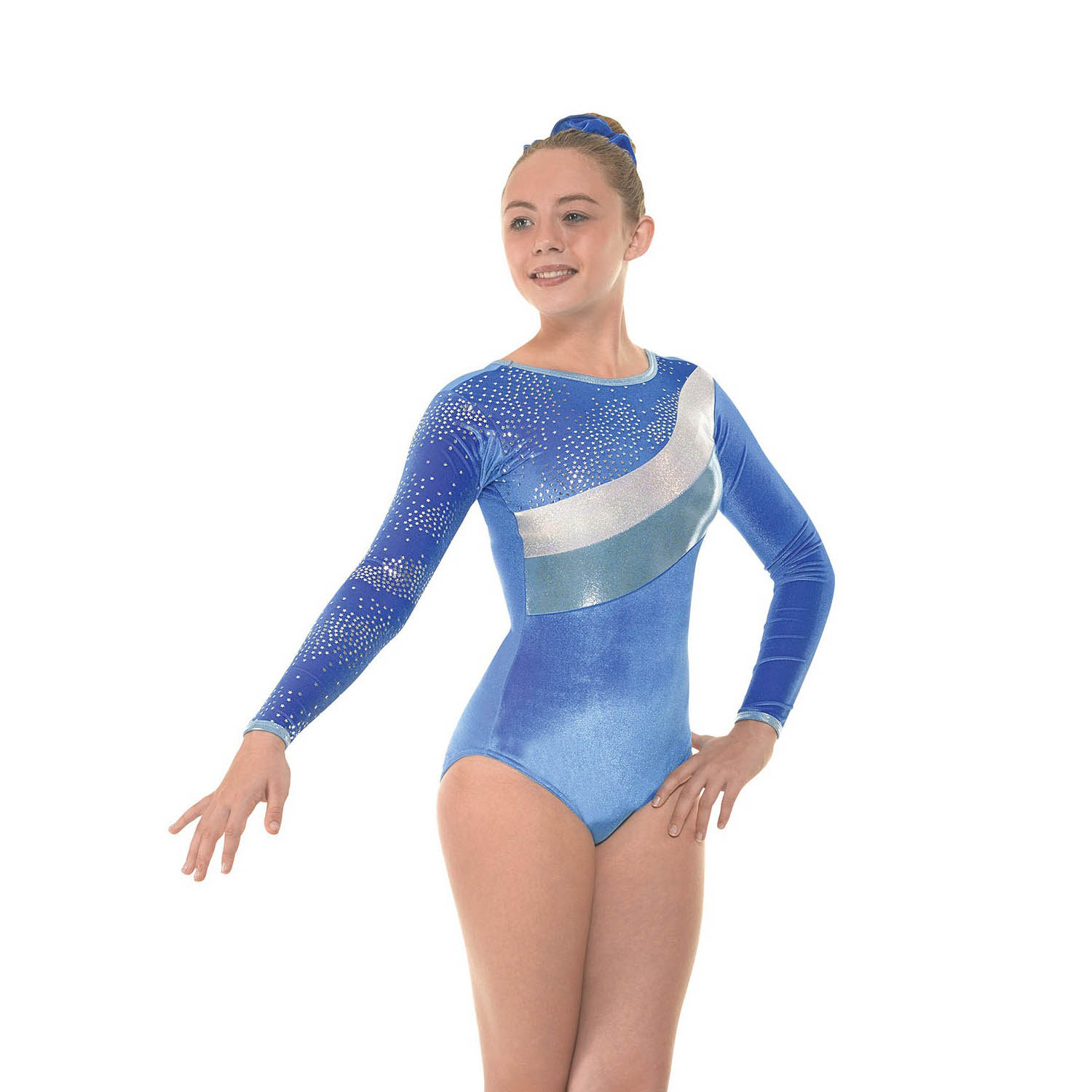 Velvet and Foil Long Sleeve Gymnastic Leotard - Dancewear Universe 7f767e16765