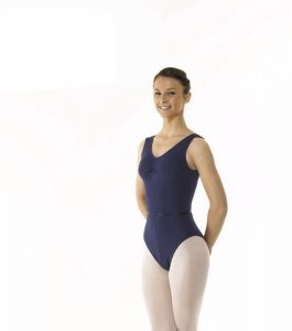 Sleeveless Leotard Ruched Front ISTD Navy