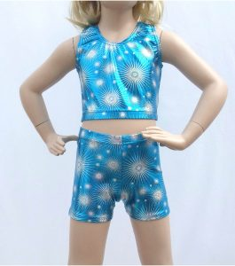 Jenetex Hot Pants & Crop Top Set Turquoise Zodiac front
