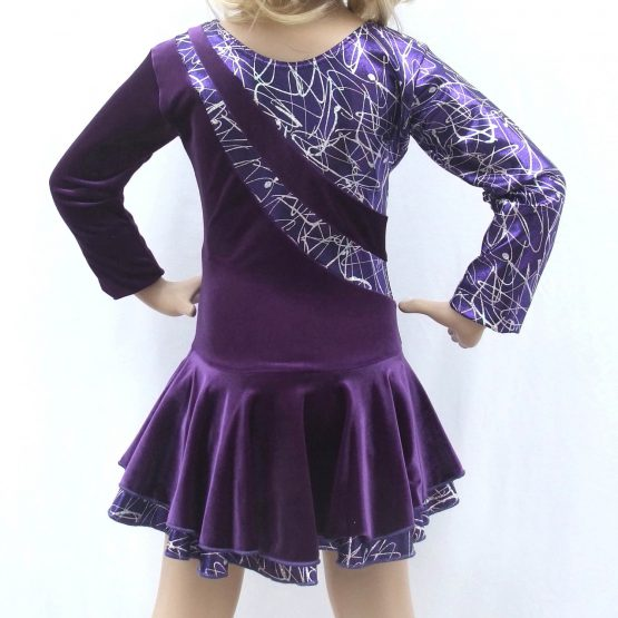 Jenetex Malaga Purple Long Sleeve Skating Dresses back