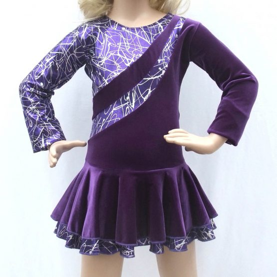Jenetex Malaga Purple Long Sleeve Skating Dresses front