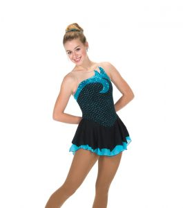 Jerrys 225 Sequin Splash Aqua Blue Skating Dress front
