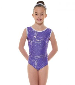 Tappers and Pointers GYM 35 Gymnastic Leotard Purple and Silver