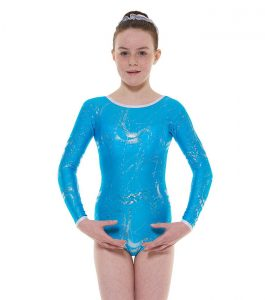 Tappers and Pointers GYM 36 Gymnastic Leotard Kingfisher and Silver