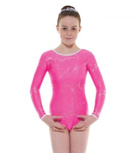 Tappers and Pointers GYM 36 Gymnastic Leotard Lipstick and Silver