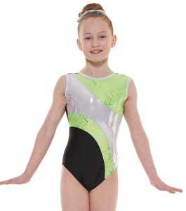 Tappers and Pointers GYM 37 Gymnastic Leotard Black Apple and Silver