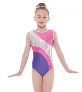 Tappers and Pointers GYM 37 Gymnastic Leotard Purple Lipstick and Silver