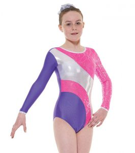 Tappers and Pointers GYM 38 Gymnastic Leotard Purple Lipstick and Silver