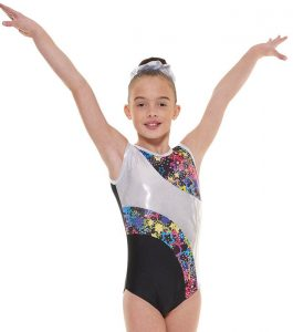 Tappers and Pointers GYM 39 Gymnastic Leotard Black, Blue and Silver