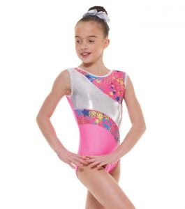 Tappers and Pointers GYM 39 Gymnastic Leotard Fluorescent Pink and Silver
