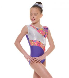 Tappers and Pointers GYM 39 Gymnastic Leotard Purple Pink and Silver