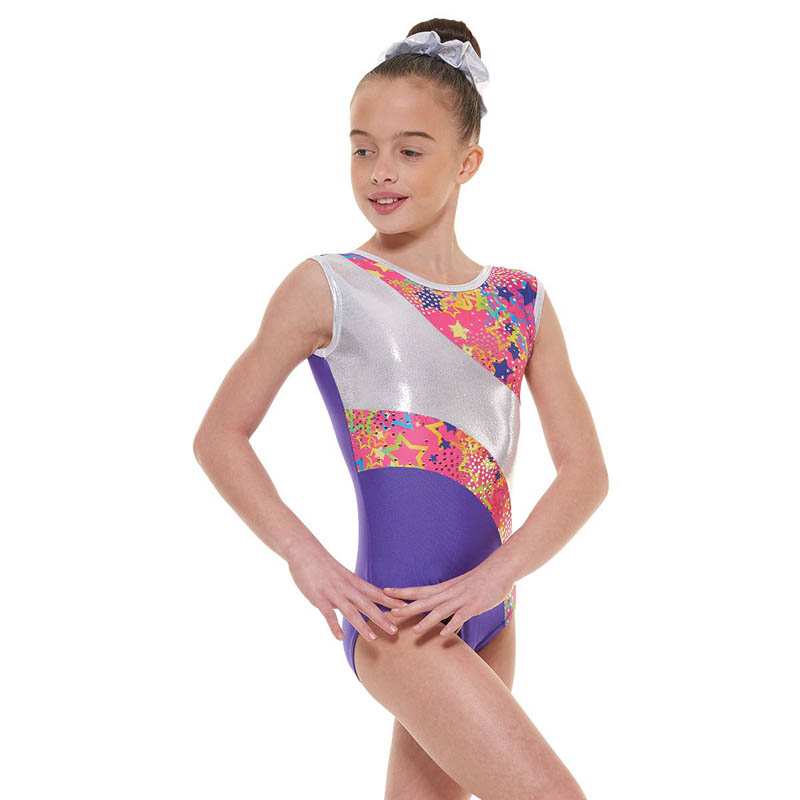 0696b4de9ea7 Purple Lycra and Metallic Astro Foil Sleeveless Gymnastic Leotard -  Dancewear Universe