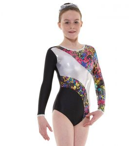 Tappers and Pointers GYM 40 Gymnastic Leotard Black, Blue and Silver