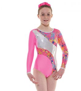 Tappers and Pointers GYM 40 Gymnastic Leotard Fluorescent Pink and Silver