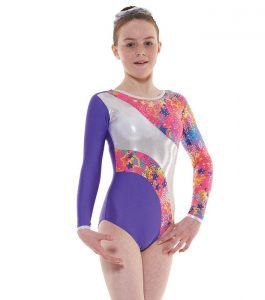 Tappers and Pointers GYM 40 Gymnastic Leotard Purple Pink and Silver