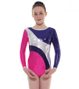 Tappers and Pointers GYM 42 Gymnastic Leotard Pink Plum and Silver