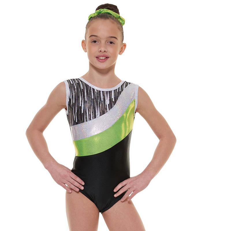 eaee0cb44 Black And Lime Cascade Shine Lycra Sleeveless Gymnastic Leotard ...