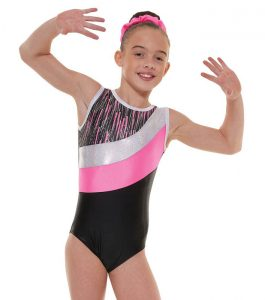 Tappers and Pointers GYM 43 Gymnastic Leotard Pink Black and Silver