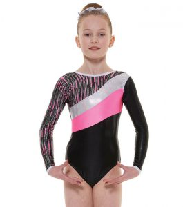 Tappers and Pointers GYM 44 Gymnastic Leotard Pink Black and Silver