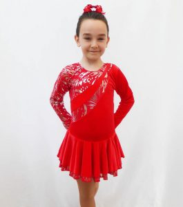 Malaga red long sleeve skating dress