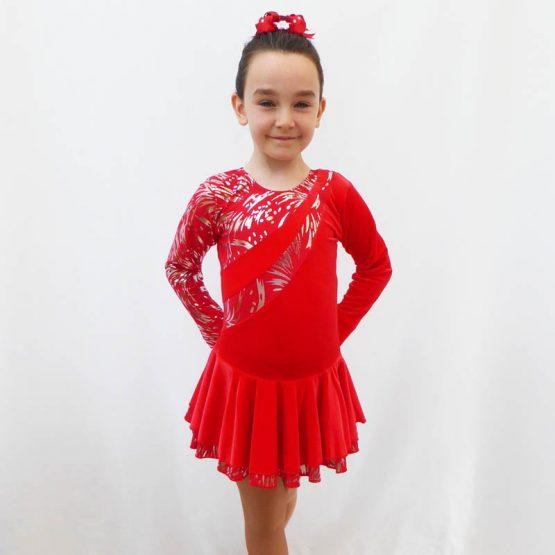 Malaga red long sleeve skating dress