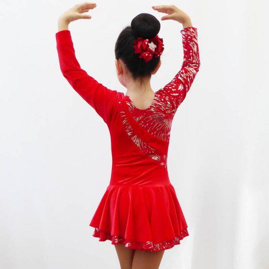 Malaga red long sleeve skating dress back