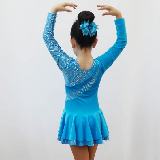 Malaga turquoise long sleeve skating dress back