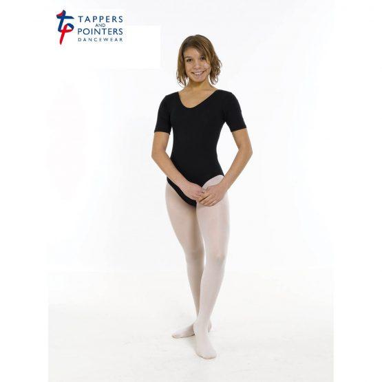 Cotton Lycra short sleeve Plain Front Leotard Cot 5