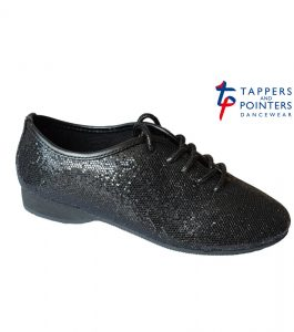 Tappers and Pointers Black Glitter Jazz Shoes