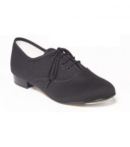 Boys Black Canvas Oxford Tap Shoe Low Heel