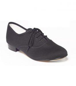 Boys Black Canvas Oxford Tap Shoe Low Heel