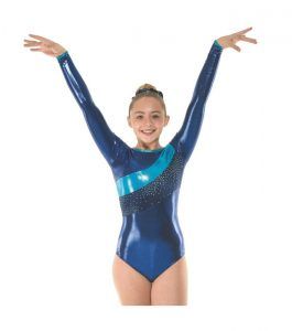 Gym 34 Amazon Shine Navy and Astro Aqua Foil Gymnastic Leotard