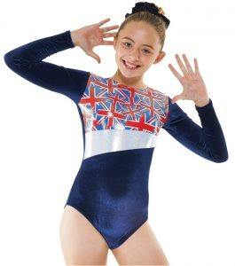 Gym26 navy and silver union jack flag gymnastic leotard