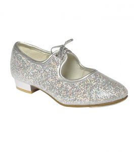 Silver Hologram Low Heel Tap Shoes